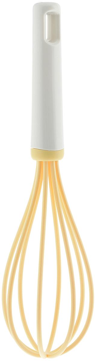 Венчик Tescoma Delicia, цвет: желтый, длина 26 см630050Венчик Tescoma Delicia, изготовленный из термостойкого пластика, поможет вам с легкостью смешать и взбить заправку, крем или тесто. Ручка изделия оснащена отверстием, за которое венчик можно подвесить в любом удобном для вас месте. Практичный и удобный венчик Tescoma Delicia займет достойное место среди аксессуаров на вашей кухне. Длина венчика: 26 см. Ширина рабочей части: 7 см.