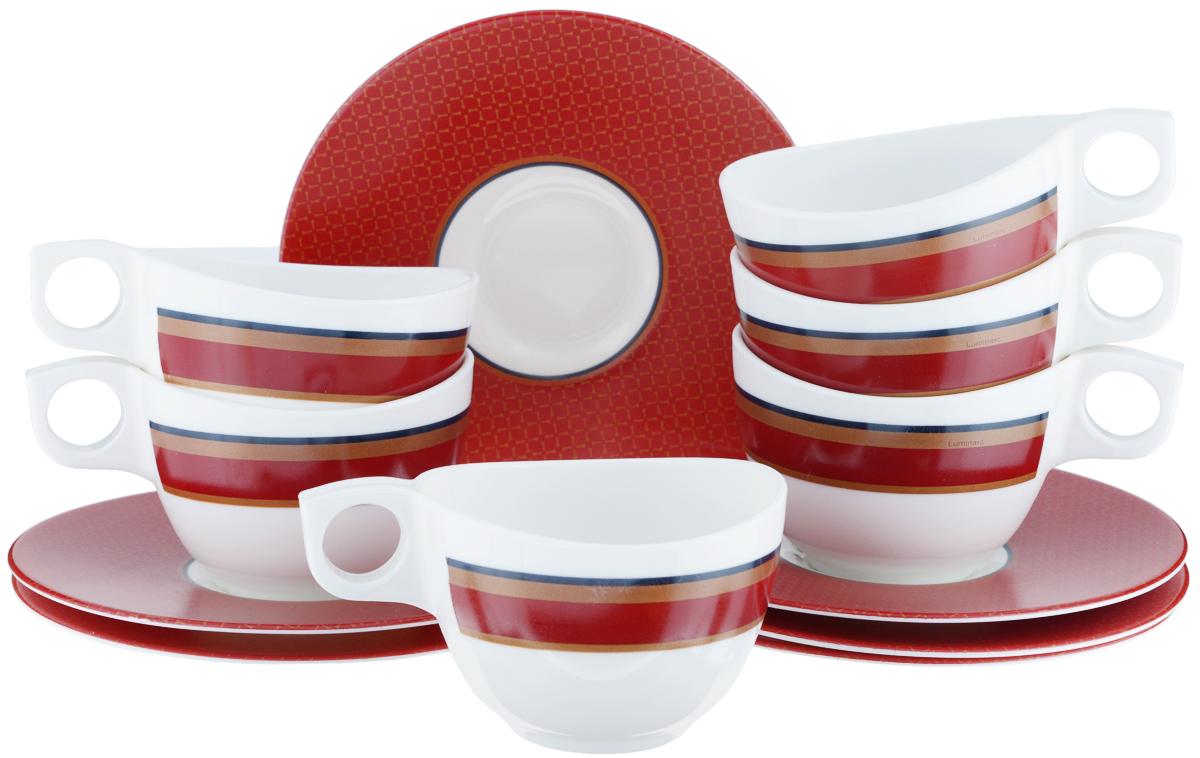 Набор чайный Luminarc Alto Rubis, 12 предметовJ3745Чайный набор Luminarc Alto Rubis состоит из шести чашек и шести блюдец. Предметы набора изготовлены из высококачественного стекла, которые обладают высокой степенью прочности, устойчивостью к царапинам и резким перепадам температур. Чайный набор яркого и лаконичного дизайна, украсит интерьер кухни и сделает ежедневное чаепитие настоящим праздником. Можно использовать в микроволновой печи, и мыть в посудомоечной машине. Объем чашек: 220 мл. Диаметр чашек (по верхнему краю): 9 см. Высота чашек: 6 см. Диаметр блюдец: 16 см.