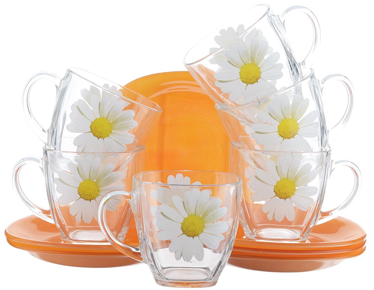 Набор чайный Luminarc Paquerette Melon, 12 предметовG5919Чайный набор Luminarc Paquerette Melon состоит из 6 чашек и 6 блюдец. Изделия выполнены из высококачественного ударопрочного стекла, имеют красивый яркий дизайн. Чашки украшены изображением ромашек, блюдца выполнены в однотонной расцветке. Посуда отличается прочностью, гигиеничностью и долгим сроком службы, она устойчива к появлению царапин и резким перепадам температур. Такой набор прекрасно подойдет как для повседневного использования, так и для праздников или особенных случаев. Чайный набор Luminarc - это не только яркий и полезный подарок для родных и близких, это также великолепное дизайнерское решение для вашей кухни или столовой. Изделия можно мыть в посудомоечной машине и использовать в СВЧ-печи. Объем чашки: 220 мл. Размер чашки: 7,5 см х 7,5 см х 7,5 см. Размер блюдца: 13,5 см х 13,5 см.