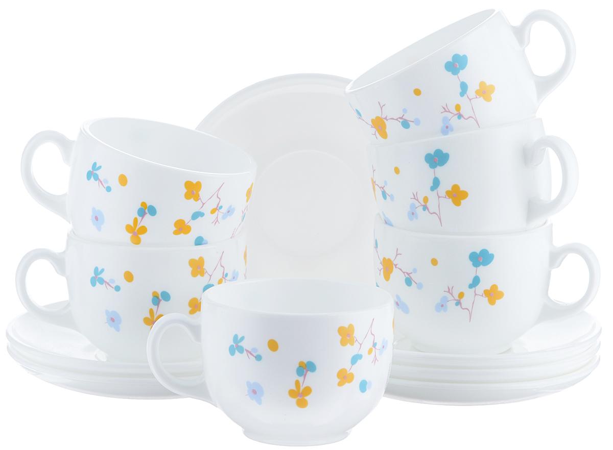 Набор чайный Luminarc Zen Essence, 12 предметовJ3027Чайный набор Luminarc Zen Essence состоит из 6 чашек и 6 блюдец. Изделия выполнены из высококачественного ударопрочного стекла, имеют яркий дизайн с красивым цветочным рисунком и классическую форму. Посуда отличается прочностью, гигиеничностью и долгим сроком службы, она устойчива к появлению царапин и резким перепадам температур. Такой набор прекрасно подойдет как для повседневного использования, так и для праздников или особенных случаев. Чайный набор Luminarc - это не только яркий и полезный подарок для родных и близких, это также великолепное дизайнерское решение для вашей кухни или столовой. Изделия можно мыть в посудомоечной машине и использовать в СВЧ-печи. Объем чашки: 220 мл. Диаметр чашки (по верхнему краю): 8,5 см. Высота чашки: 6 см. Диаметр блюдца: 14 см.