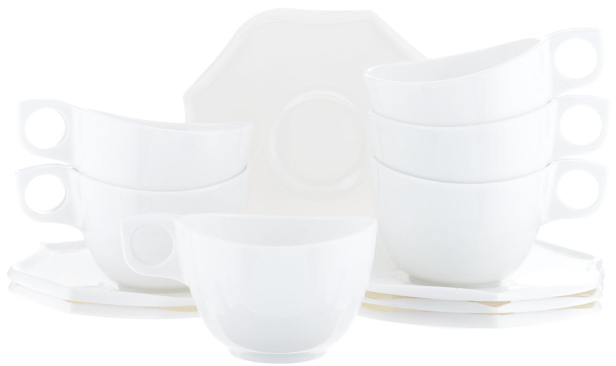 Набор чайный Luminarc Louisa, 12 предметовJ2676Чайный набор Luminarc Louisa состоит из шести чашек и шести блюдец оригинальной формы. Предметы набора изготовлены из высококачественного стекла, которое обладает высокой степенью прочности, устойчивостью к царапинам и резким перепадам температур. Чайный набор яркого и лаконичного дизайна, украсит интерьер кухни и сделает ежедневное чаепитие настоящим праздником. Можно использовать в микроволновой печи, и мыть в посудомоечной машине. Объем чашек: 220 мл. Диаметр чашек (по верхнему краю): 9 см. Высота чашек: 6 см. Размер блюдец: 15,5 см.
