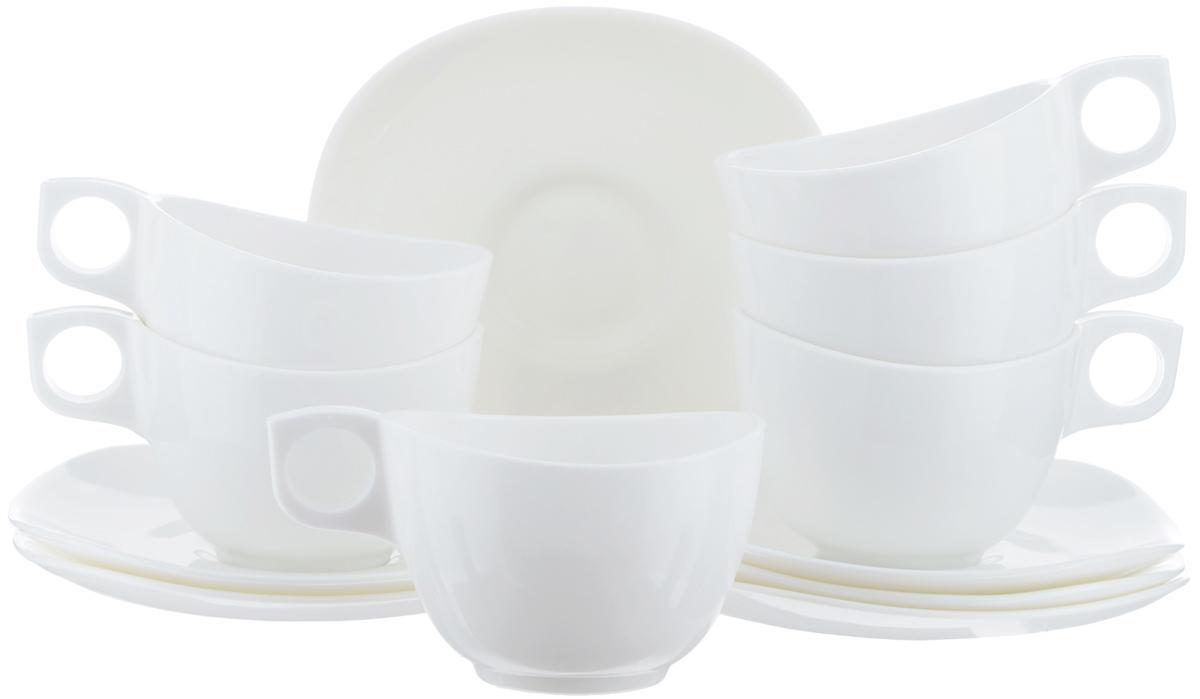 Набор чайный Luminarc Yalta Bone, 12 предметовH5279Чайный набор Luminarc Yalta Bone состоит из 6 чашек и 6 блюдец. Изделия выполнены из высококачественного ударопрочного стекла, имеют элегантный однотонный дизайн. Посуда отличается прочностью, гигиеничностью и долгим сроком службы, она устойчива к появлению царапин и резким перепадам температур. Такой набор прекрасно подойдет как для повседневного использования, так и для праздников или особенных случаев. Luminarc Yalta Bone - это не только яркий и полезный подарок для родных и близких, это также великолепное дизайнерское решение для вашей кухни или столовой. Изделия можно мыть в посудомоечной машине и использовать в СВЧ-печи. Объем чашки: 220 мл. Диаметр чашки: 9 см. Высота чашки: 6,5 см. Размер блюдца: 15,7 см х 15,7 см. Высота блюдца: 2 см.