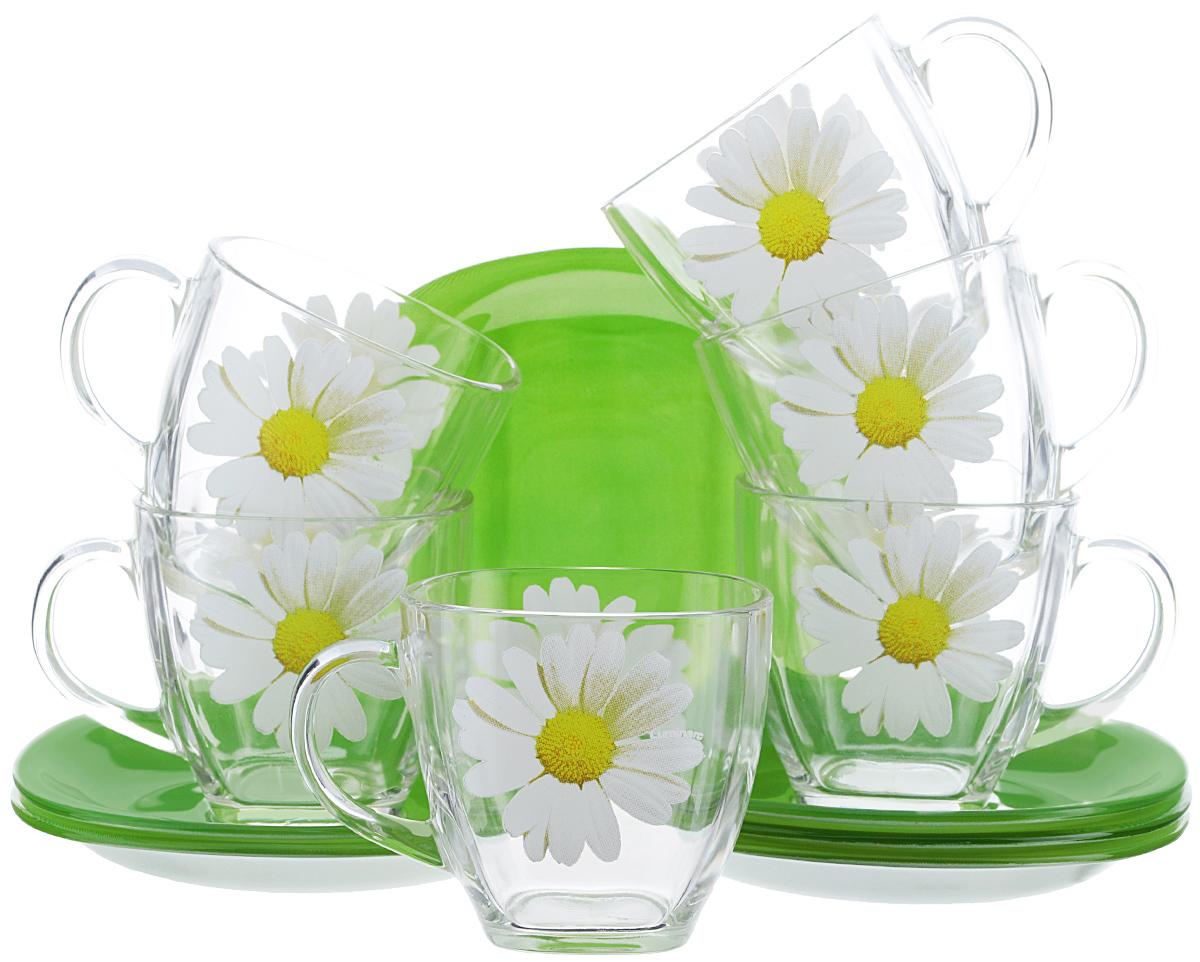 Набор чайный Luminarc Paquerette Green, 12 предметовG1988Чайный набор Luminarc Paquerette Greenсостоит из шести чашек и шести блюдец. Предметы набора изготовлены из высококачественного стекла, которые обладают высокой степенью прочности, устойчивостью к царапинам и резким перепадам температур. Прозрачные чашки украшены цветочным принтом и дополнены блюдцами цвета сочной весенней травы. Чайный набор яркого и лаконичного дизайна, украсит интерьер кухни и сделает ежедневное чаепитие настоящим праздником. Можно использовать в микроволновой печи, и мыть в посудомоечной машине. Объем чашек: 220 мл. Размер чашек: 7,2 см х 7 см. Высота чашек: 7 см. Размер блюдец: 13,3 см х 13,3 см.