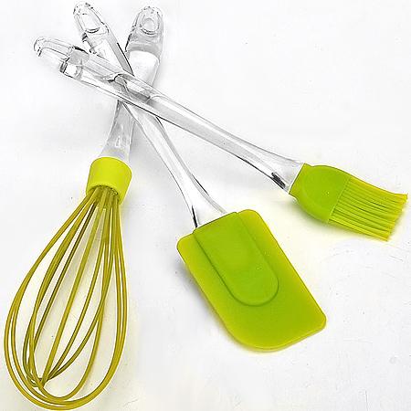 20063-1 Кухонный ЗЕЛЕНЫЙ 3пр силикон MB (х36)20063-1кухонный набор 3пр: венчик 29,5см лопаточка 24,5см кисть 22,5см материал:силикон ручки:пластик Вес:156г