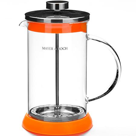 21250 Заварник Френч-Пресс 600 мл МВ (х24)21250Заварочный чайник френч-пресс (0,6 л) Материал: нержавеющая сталь, термостойкое стекло, силикон Цвет:красный,оранжевый, зеленый, фиолетовый Размер упаковки:13х11х19 см Объем: 600 мл Вес: 470 г Френч-пресс изготовлен из высокотехнологичных материалов на современном оборудовании: - корпус изготовлен из высококачественного жаропрочного стекла, устойчивого к окрашиванию, царапинам и термошоку; - фильтр-поршень из нержавеющей стали выполнен по технологии press-up для обеспечения равномерной циркуляции воды; - яркая подставка из инертного силикона препятствует скольжению френч-пресса. Френч-пресс MAYER&BOCH позволит быстро и просто приготовить свежий и ароматный кофе или чай. Практичный и стильный дизайн полностью соответствует последним модным тенденциям в создании предметов бытовой техники.