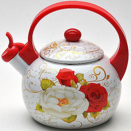 22501 Чайник 2,2л со свистком ЭМАЛЬ/КОРЕЯ МВ (х12)22501Чайник со свистком эмалированный (2,2 л) Материал: углеродистая сталь, пластик, эмалированное покрытие Цвет: белый с рисунком розы, ручка красная Размер упаковки: 23х19,5х19,5 см Объем: 2,2 л Вес: 850 г Чайник выполнен из высококачественной углеродистой стали. Капсулированное дно с прослойкой из алюминия обеспечивает наилучшее распределение тепла. Носик чайника оснащен насадкой-свистком, что позволит вам контролировать процесс подогрева или кипячения воды. Фиксированная пластиковая ручка дает дополнительное удобство при разлитии напитка, поверхность чайника гладкая, что облегчает уход за ним. Чайник подходит для использования на всех типах плит. Эстетичный и функциональный, с эксклюзивным дизайном, чайник будет оригинально смотреться в любом интерьере. Также изделие можно мыть в посудомоечной машине.