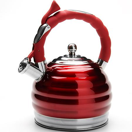 24968 Чайник метал 3л со свист. с/кр MB (х12)24968Чайник металлический со свистком (3 л) Материал: нержавеющая сталь, пластик индукционное дно, термостойкое покрытие Цвет: красный Размер коробки: 20,5 х 20,5 х 30 см Объем: 3л Вес: 1,16 кг Корпус чайника выполнен из высококачественной нержавеющей стали, что обеспечивает долговечность использования. Корпус с зеркальной поверхностью краснового цвета. Фиксированная ручка снабженная механизмом для открывания носика, что делает использование чайника очень удобным и безопасным. Носик снабжен свистком, что позволит вам контролировать процесс подогрева или кипячения воды. Капсулированное дно с прослойкой из алюминия обеспечивает наилучшее распределение тепла. Эстетичный и функциональный, с эксклюзивным дизайном, чайник будет оригинально смотреться в любом интерьере. Также изделие можно мыть в посудомоечной машине.