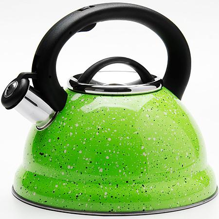 24971 Чайник метал. 2,8л Мраморная Крошка MB (х12)24971Чайник металлический со свистком (2,8 л) Материал: нержавеющая сталь, бакелит, индукционное дно, термостойкое покрытие Цвет:зеленый Размер коробки: 22,8 х 22,5 х 21 см Объем: 2,8 л Вес: 780 г Корпус чайника выполнен из высококачественной нержавеющей стали, что обеспечивает долговечность использования. Корпус с зеркальной поверхностью. Фиксированная ручка из бакелита снабжена клавишей для открывания носика, что делает использование чайника очень удобным и безопасным. Носик снабжен свистком, что позволит вам контролировать процесс подогрева или кипячения воды. Капсулированное дно с прослойкой из алюминия обеспечивает наилучшее распределение тепла. Эстетичный и функциональный, с эксклюзивным дизайном, чайник будет оригинально смотреться в любом интерьере. Также изделие можно мыть в посудомоечной машине.
