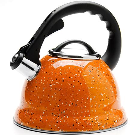 24974 Чайник метал. 2,8л Мраморная Крошка MB (х12)24974Чайник металлический со свистком (2,8 л) Материал: нержавеющая сталь, пластик индукционное дно, термостойкое покрытие Цвет: оранжевый Размер коробки: 22,5 х 22,5 х 23,8 см Объем: 2,8 л Вес: 930 г Корпус чайника выполнен из высококачественной нержавеющей стали, что обеспечивает долговечность использования. Корпус с зеркальной поверхностью оранжевого цвета. Фиксированная ручка снабженная механизмом для открывания носика, что делает использование чайника очень удобным и безопасным. Носик снабжен свистком, что позволит вам контролировать процесс подогрева или кипячения воды. Капсулированное дно с прослойкой из алюминия обеспечивает наилучшее распределение тепла. Эстетичный и функциональный, с эксклюзивным дизайном, чайник будет оригинально смотреться в любом интерьере. Также изделие можно мыть в посудомоечной машине.