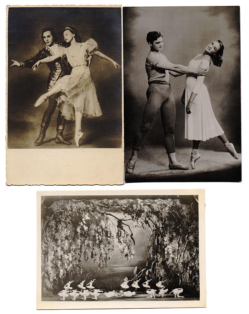 Балет. Комплект из 3 открытокНВА-2 2508 16-39Комплект из 3 открыток с фотографиями артистов балета. СССР, 1950-е - 1960-е гг. Размеры: 14.5 х 9.5 см и 13.5 х 9.5 см. Сохранность хорошая. В комплект вошли: - И. А. Колпакова и А. И. Грибов; - сцена из балета Лебединое озеро.