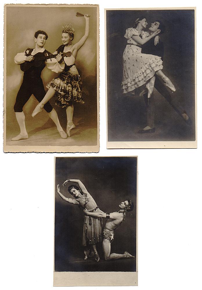 Балет. Комплект из 3 открытокНВА-2 2508 16-39Комплект из 3 открыток с фотографиями артистов балета. СССР, первая половина XX века. Размеры: 14.7 х 9.5 см, 13 х 8.3 см и 13.5 х 9 см. Сохранность хорошая.