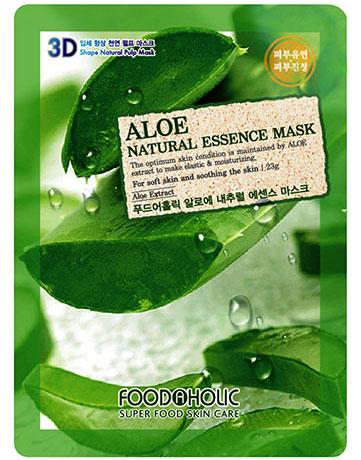 FoodaHolic Тканевая 3D маска с натуральным экстрактом алое 3D Mash Sheet, 23 мл620658Тканевая 3D маска с натуральным экстрактом алое, 23гр Маска на тканевой основе обогащена пропиткой с эссенцией, отличающейся большим содержанием активных ингредиентов и обогащена экстрактом алоэ; он наполняет влагой иссушенную дерму, заживляет микроповреждения, успокаивает при повышенной чувствительности или раздражениях, возвращает тонус безжизненной эпидерме, придавая мягкость и эластику.