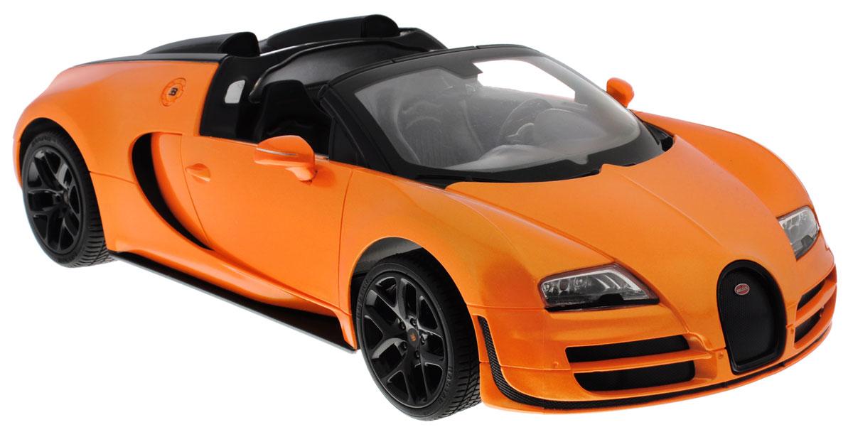 Rastar Радиоуправляемая модель Bugatti Veyron 16.4 Grand Sport Vitesse цвет оранжевый70420_оранжевыйРадиоуправляемая модель Rastar Bugatti Veyron 16.4 Grand Sport Vitesse станет отличным подарком любому мальчику! Все дети хотят иметь в наборе своих игрушек ослепительные, невероятные и крутые автомобили на радиоуправлении. Тем более, если это автомобиль известной марки с проработкой всех деталей, удивляющий приятным качеством и видом. Одной из таких моделей является автомобиль на радиоуправлении Rastar Bugatti Veyron 16.4 Grand Sport Vitesse. Это точная копия настоящего авто в масштабе 1:14. Авто обладает неповторимым провокационным стилем и спортивным характером. Потрясающая маневренность, динамика и покладистость - отличительные качества этой модели. Возможные движения: вперед, назад, вправо, влево, остановка. Имеются световые эффекты. Пульт управления работает на частоте 2.4 GHz. Для работы игрушки необходимы 5 батареек типа АА (не входят в комплект). Для работы пульта управления необходима 1 батарейка 9V (6F22) (не входит в комплект).