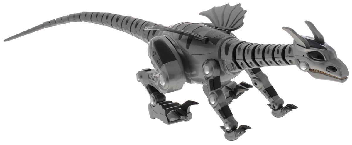 1Toy Робот Кибердракон Darkonia цвет серый черныйТ51864_серый, черныйМногофункциональный программируемый робот КиберДракон непременно порадует своего обладателя. Робот вращает шеей и головой, хлестает хвостом , двигается как настоящая рептилия! Он может передвигаться с разной скоростью на двух или на четырех лапах. Дракон крадется, охотится, играет, отслеживает и нападает! Более интересной игру делают световые и звуковые эффекты. Игрушка имеет пять режимов: 1. Автономный (по умолчанию): голодный и агрессивный, исследует округу, ищет еду, нападает, рычит и кусается. 2. Управление с пульта ИК: множество вариаций управления, включая функцию демонстрации и уровень громкости. 3. Программирование: возможность программирования серии команд. 4. Охрана: активирует сенсоры звука и движения. 5. Сон: переводит робота в режим экономии батареи. Робот засыпает, если ему не отдают команды. В состав комплекта входят дракон и ИК-пульт управления. Робот работает от 6 батарее напряжением 1,5 V типа АА (в...