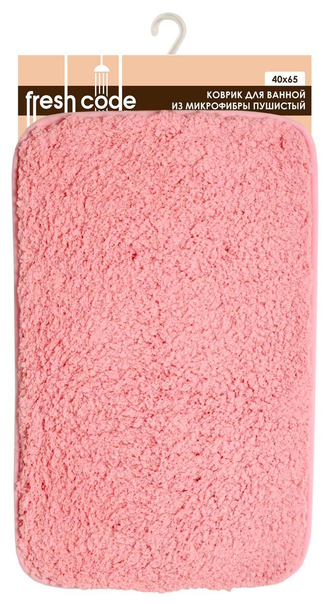 Коврик для ванной комнаты Fresh Code, цвет: розовый, 65 х 40 см 5817758177_розовыйКоврик для ванной Fresh Code изготовлен из 100% полиэстера. Яркий цветной коврик создаст уют в ванной комнате. Волокно микрофибры превосходно впитывает влагу, создает комфортное, мягкое покрытие. Рекомендации по уходу: - стирать в ручном режиме, - не использовать отбеливатели, - не гладить, - не подходит для сухой чистки (химчистки).