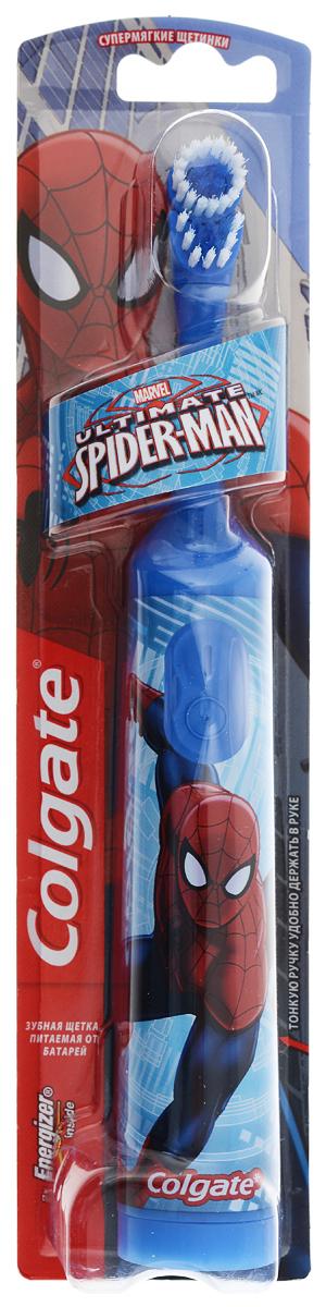 Colgate Зубная щетка Spider-Man, электрическая, с мягкой щетиной, цвет: синийFCN10038_серый, голубойColgate Spider-Man - детская электрическая зубная щетка с мягкой щетиной. Маленькая вибрирующая головка с очень мягкими щетинками очищает детские зубы и бережно удаляет налет. Она идеально подходит для развития навыков гигиены полости рта, а благодаря яркому, привлекательному дизайну ежедневная чистка зубов станет удовольствием для вашего ребенка. Эргономичная ручка не скользит в ладони, амортизирует давление руки на нежную поверхность десен. Разноуровневые щетинки тщательно очищают как маленькие, так и большие зубы. Зубная щетка работает от двух батареек типа ААА. Батарейки в комплекте. Товар сертифицирован.