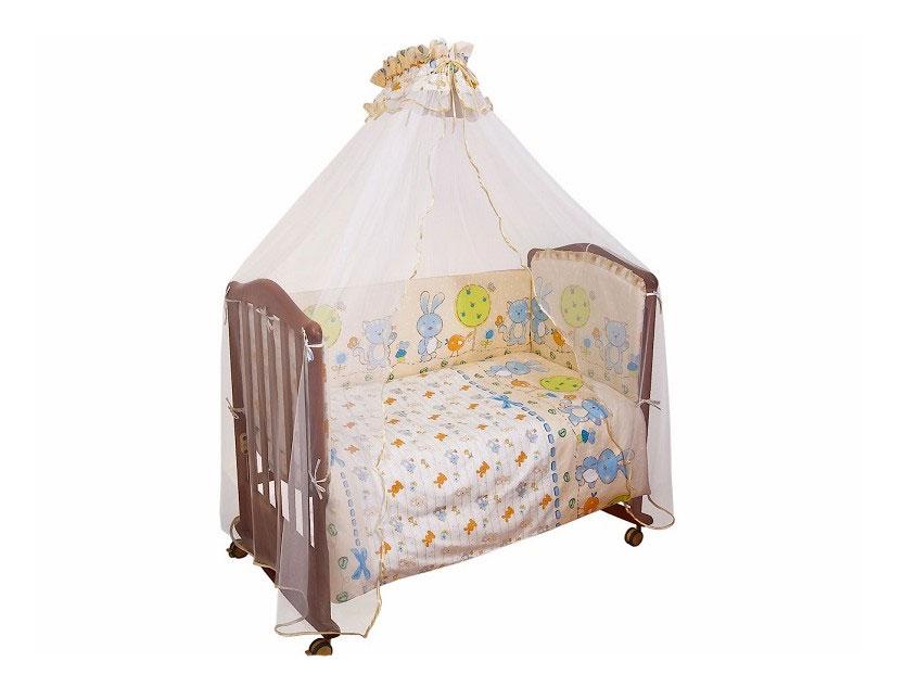 Бампер в кроватку Акварель, цвет: бежевый106/1Бампер в кроватку Акварель состоит из четырех частей и закрывает весь периметр кроватки. Бортик крепится к кроватке с помощью специальных завязок, благодаря чему его можно поместить в любую детскую кроватку. Бампер выполнен из бязи - натурального хлопка безупречной выделки. Деликатные швы рассчитаны на прикосновение к нежной коже ребенка. Бампер оформлен оборками и изображениями зайчонка, птички и котика. Наполнителем служит холлкон - эластичный синтетический материал, экологически безопасный и гипоаллергенный, обладающий высокими теплозащитными свойствами. Бампер защитит ребенка от возможных ударов о деревянные или металлические части кроватки. Бортик подходит для кроватки размером 120 см х 60 см. Характеристики: Материал верха: бязь, 100% хлопок. Наполнитель: холлкон. Общая длина бампера: 360 см. Высота бортика: 42 см. Размер упаковки: 60 см х 50 см х 17 см. Для производства изделий Сонный гномик...