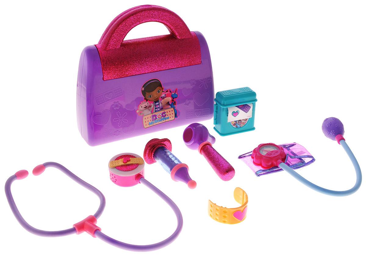 Доктор Плюшева Игровой набор Чемоданчик доктора цвет фиолетовый малиновый90120_фиолетовый, малиновыйИгровой набор Доктор Плюшева Чемоданчик доктора привлечет внимание вашего юного врача и не позволит ему скучать. Практически каждый ребенок любит эту игру, воображая себя доктором или пациентом. Набор выполнен из безопасного пластика преимущественно розового и сиреневого цветов и включает отоскоп, шприц, манжетку для измерения кровяного давления, стетоскоп с подсветкой и звуком, наклейки и бандаж. Инструменты упакованы в стильный чемоданчик. С этим замечательным набором ребенок сможет почувствовать себя квалифицированным специалистом. Порадуйте вашу малышку таким замечательным подарком. Стетоскоп работает от 3 батареек типа AG13 напряжением 1,5V (товар комплектуется демонстрационными).