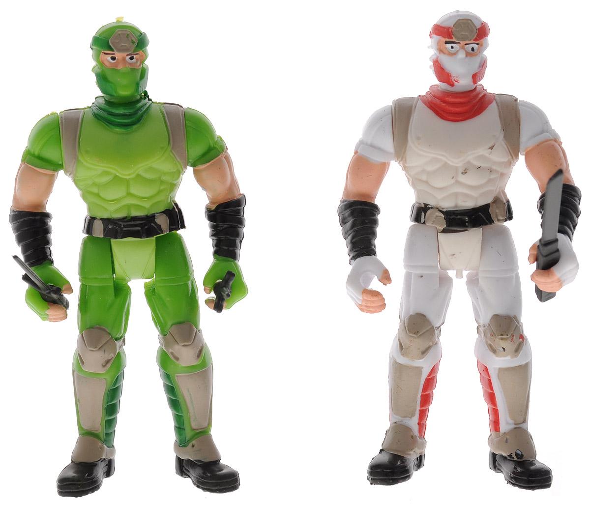 Manley Фигурки Ninja Battle цвет зеленый белый59222_белый, зеленыйФигурки Ninja Battle из прочного пластика представлены в зеленом и белом цвете. Фигурки представляют собой двух ниндзя в масках и боевой экипировке. Руки, ноги и голова у фигурок подвижны. В наборе имеется 14 видов разнообразного оружия, которое можно использовать в схватках с врагами. Ваш ребенок с удовольствием разнообразит свои игры фигурками Ninja Battle.