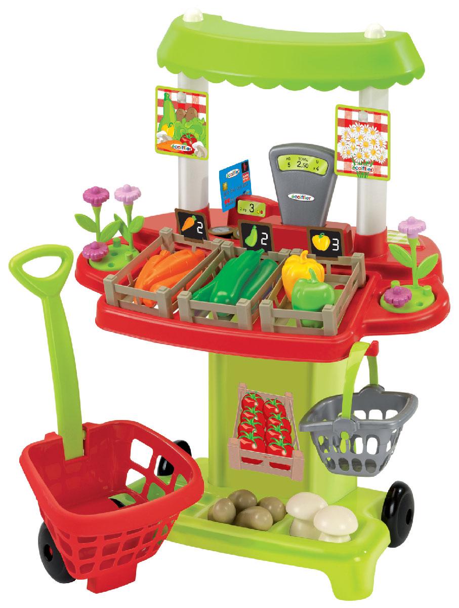 Ecoiffier Игровой набор Овощной супермаркет1744Игровой набор Ecoiffier Овощной супермаркет позволит малышу не только весело провести время, но и в простой игровой форме познакомиться с цифрами, счетом, а также выучить названия овощей. В комплект входит высокий пластиковый прилавок с кассой и контейнерами для овощей, тележка для покупок на колесиках, оснащенная удобной длинной ручкой, переносная корзинка для покупок, а также множество ярких муляжей овощей: морковь, кабачки, перцы, картофель и грибочки. Все элементы набора выполнены из прочного безопасного пластика ярких цветов и имеют увеличенные размеры, специально для маленьких пальчиков малыша. С помощью этого набора ваш ребенок сможет научиться правильно вести себя в магазине и делать покупки. Порадуйте его таким замечательным подарком!