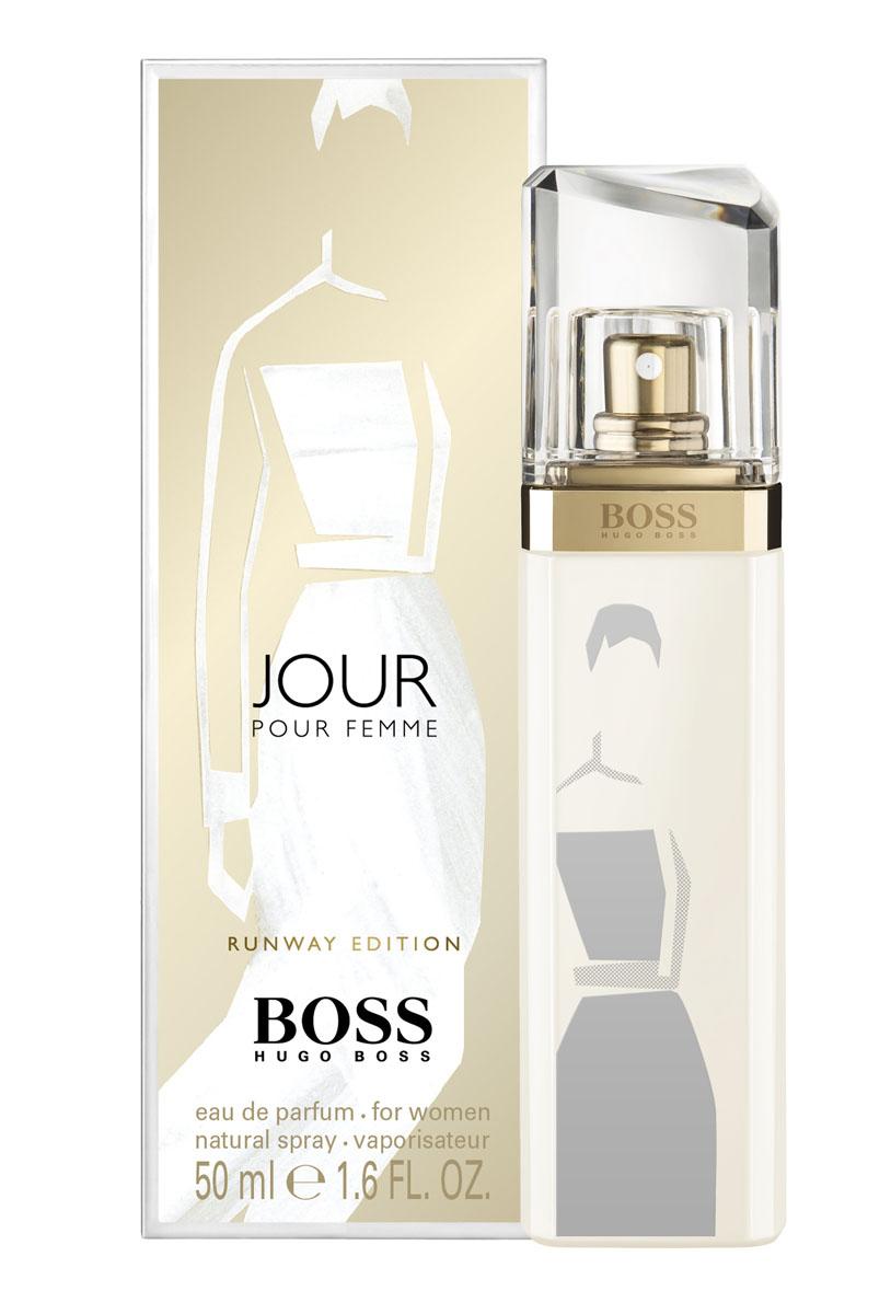 Hugo Boss Runway Jour парфюмерная вода 50 мл (лимитированный выпуск)0730870119990Белое дневное платье: изысканное и привлекательное, идеально для любых возможностей, которые могут открыться в течение дня, как и аромат boss jour - беззаботный и цветочный. Цветочный, цитрусовый верхние ноты: агатосма, цветок грейпфрута, лаймовый аккорд.