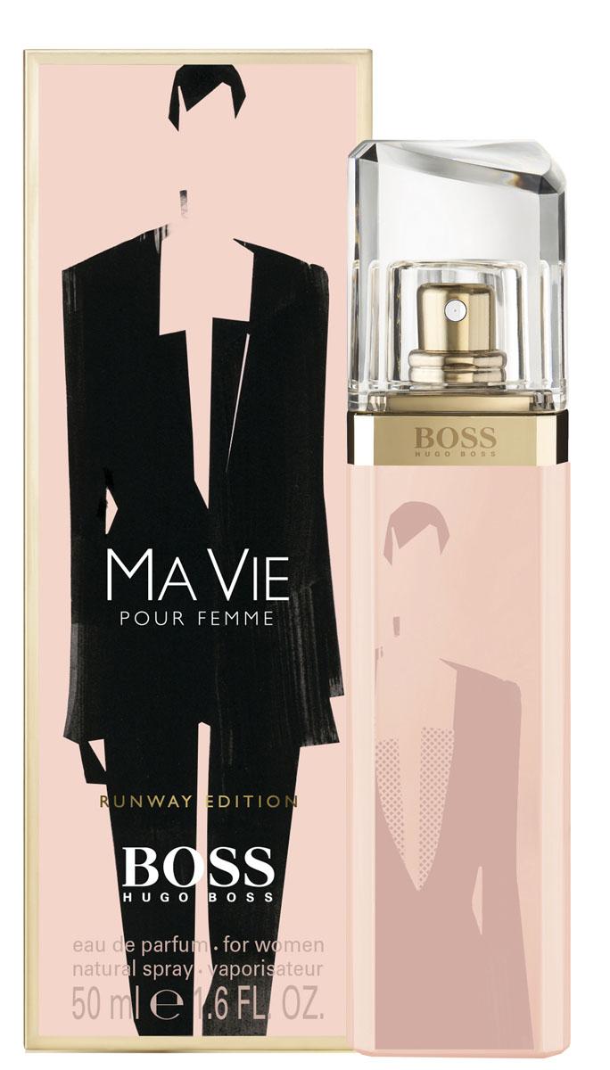 Hugo Boss Runway Ma vie парфюмерная вода 50 мл (лимитированный выпуск)0730870120156Сильный, женственный, уникальный аромат. Аромат принадлежит к той же группе что и D&G L'Imperatrice! Цветок кактуса-придает свежесть, символ нового аромата. Бутоны розы-женственность Кедровое дерево-интенсивность и теплота.