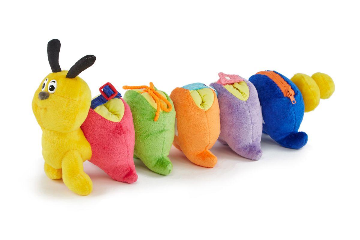 PicnMix Развивающая игрушка Гусеница-веселые застежки118001Мягкая игрушка в комплекте с инструкцией-методическим пособием позволяет смоделировать 3 различные игры, каждая из которых направлена на обучение ребенка определенным навыкам и усвоение им новых знаний. Игрушка позволяет научить ребёнка самостоятельно одеваться и пользоваться различными типами застежек, также в процессе игры стимулируются навыки зрительной памяти, логики, и происходит знакомство ребенка с простым счетом от 1-го до 5-ти.