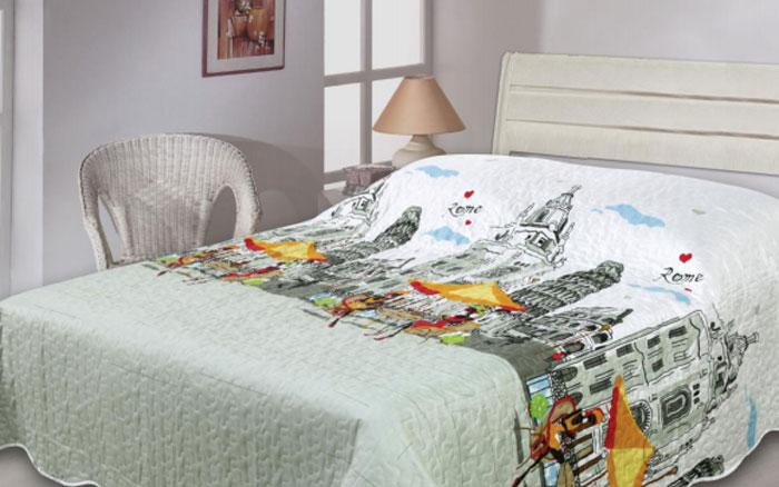 Покрывало Cool Voyage, цвет: белый, серый, 180 см х 210 см256629Изящное стеганое покрывало Cool Voyage гармонично впишется в интерьер вашего дома и создаст атмосферу уюта и комфорта. Покрывало выполнено из высококачественного полиэстера и оформлено оригинальным рисунком. В комплекте - удобный текстильный чехол с затягивающимися шнурками для удобной переноски. Такое покрывало согреет в прохладную погоду и будет превосходно дополнять интерьер вашей спальни. Высочайшее качество материала гарантирует безопасность не только взрослых, но и самых маленьких членов семьи. Покрывало может подчеркнуть любой стиль интерьера, задать ему нужный тон - от игривого до ностальгического. Покрывало - это такой подарок, который будет всегда актуален, особенно для ваших родных и близких, ведь вы дарите им частичку своего тепла!