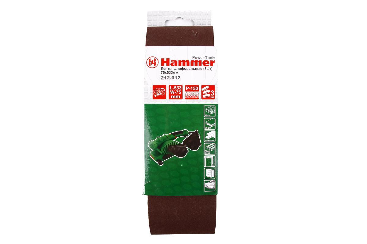 Лента шлиф. Hammer Flex 212-012 75 Х 533 Р 150 по 3 шт.29402Лента шлифовальная Hammerflex предназначена для использования с ленточными шлифмашинами. Изготовлена из качественного абразивного сырья высокой твердости и стойкости к разрушению. Прочная тканевая основа обладает низким растяжением при работе. Современная технология склейки ленты исключает вероятность ее разрыва в области соединения. Применяется для зачистки различных поверхностей: мягкой и твердой древесины, ДСП, ДВП, фанеры, ламината, а также работ по металлу. В комплекте - 3 ленты. Материал: абразивное сырье, текстиль.