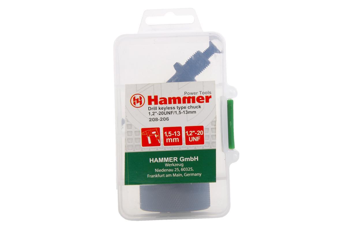 Патрон самозаж. Hammer Flex 208-206 CH-4 1,2''-20UNF 1,5-13мм, МЕТАЛЛ + переходник SDS+
