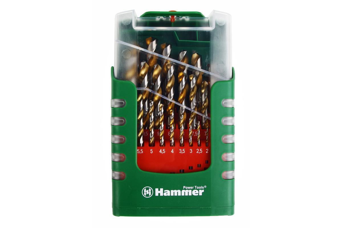 Набор сверел Hammer Flex 202-908 DR set No8 (29pcs) 1,0-13mm металл, 25шт.37077Сверла по металлу Hammerflex выполнены HSS-G(M2) высококачественной быстрорежущей инструментальной стали. Угол заточки 135° обеспечивает высокую скорость и центровку, что позволяет быстро начать процесс сверления. Покрытие нитрида титана TIN придает дополнительную прочность и увеличивает ресурс сверла. Шлифовка сверла обеспечивает высокое качество обработки стенок отверстий и оптимальное выведение шлама. Изделия имеют круглый хвостовик. Стандарт сверл по металлу DIN338. В набор входят сверла диаметром: 1 мм, 1,5 мм, 2 мм, 2,5 мм, 3 мм, 3,5 мм, 4 мм, 4,5 мм, 5 мм, 5,5 мм, 6 мм, 6,5 мм, 7 мм, 7,5 мм, 8 мм, 8,5 мм, 9 мм, 9,5 мм, 10 мм, 10,5 мм, 11 мм, 11,5 мм, 12 мм, 12,5 мм, 13 мм.