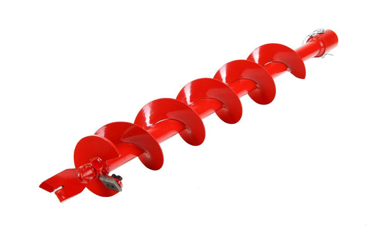 Шнек для грунта Hammer Flex 210-010 4 (100мм)X 800мм, к мотобуру с валом 168295Шнек для грунта Hammerflex совместим со всеми мотобурами с диаметром хвостовика 1 (2,5 см). Высококачественная листовая сталь и точечный сварочный шов в местах, испытывающих максимальные нагрузки в процессе бурения, придают шнеку повышенную механическую прочность. Процесс предварительного фосфатирования и износостойкое лакокрасочное покрытие обеспечивают длительную защиту от коррозии. Угол атаки шнека позволяет справиться с бурением большинства видов грунта, идеально подойдет для плотной глинистой и суглинистой почвы. Сменные режущие пластины из нержавеющей стали 4Сr13 и наконечники из легированной стали №35 отличаются высокой износостойкостью, эффективно противостоят механическим повреждениям, а также обладают необходимым запасом гибкости, что позволяет им не разрушаться при резком столкновении с твердым предметом (камнем).