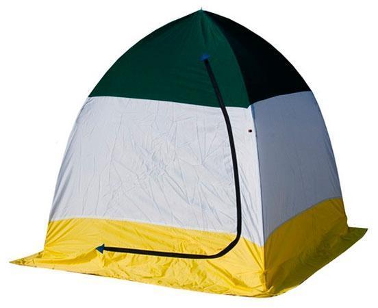 Палатка рыбака ELITE 1-м п/автомат брезент, Стэк, белый, голубой