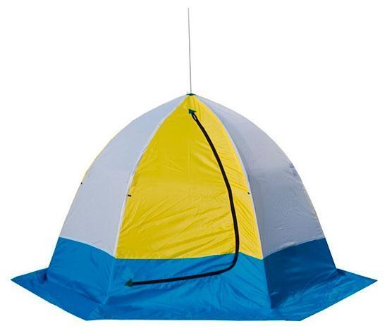 Палатка рыбака ELITE 2-м п/автомат брезент, Стэк, белый, зеленый, голубой