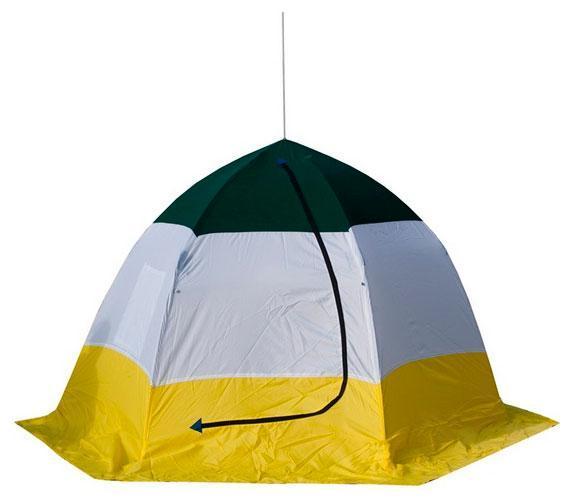 Палатка рыбака ELITE 3-м п/автомат брезент, Стэк, белый/желтый
