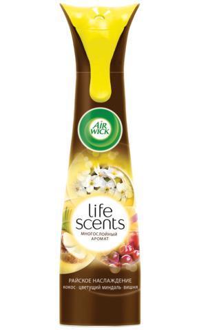 AirWick Life Scents Райское наслаждение 210 мл Освежитель воздуха3015157AirWick LIFE SCENTS Райское наслаждение позволит вам быстро и эффективно устранить в помещении неприятные запахи, наполнив его неповторимым ароматом. Средство не содержит вредного химического газа. AIRWICK выпускается в баллоне с распылителем, который равномерно распределяет аромат по комнате. Средство прекрасно подходит как для дома, так и для общественных помещений и наполнит свежестью вашу гостиную, спальню, туалет или ванну. Технология многослойного аромата, ощущение которого меняется в пространстве и во времени! Только LIFE SCENTS дарит постоянно меняющееся ощущение многослойного аромата, так же, как в жизни. Состав: пропеллент: сжатый воздух; менее 5% неионогенные ПАВ, денатурат, консервант, ароматизатор, эвгенол. Содержит бензизотиазолинон. Может вызвать аллергическую реакцию.