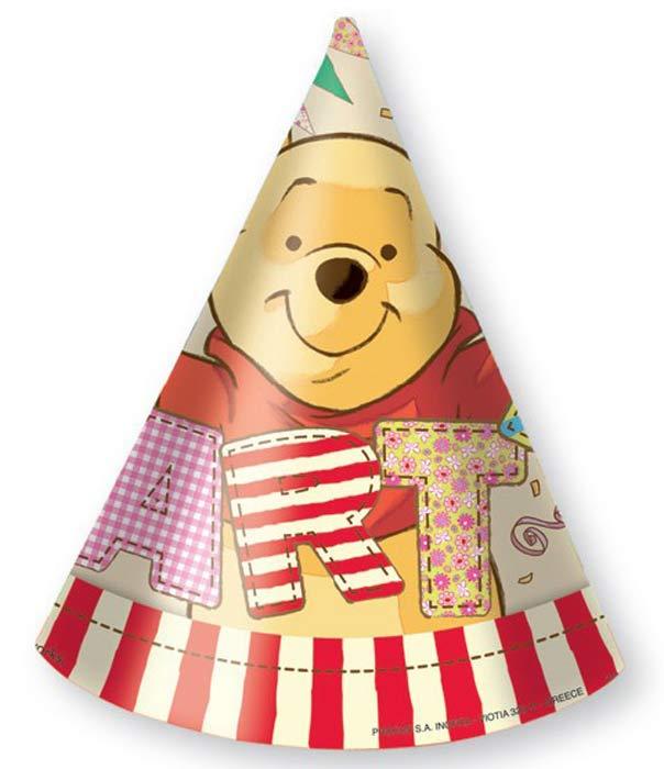 Procos Колпак карнавальный детский Колпаки Винни, 6 шт24Кто с удовольствием займет место за вашим праздничным столом? Кто самый известный плюшевый мишка в мире? Кого обожают дети и взрослые? Конечно же, это Винни-Пух! Праздничные колпаки из серии «Алфавит Винни» превратят ваш день рожденья в настоящую вечеринку в стиле Disney. Яркие качественные украшения для именинника и его друзей изготовлены греческим брендом Procos, уже много лет известным на рынке товаров для праздника. В упаковке вы найдете 6 колпаков.