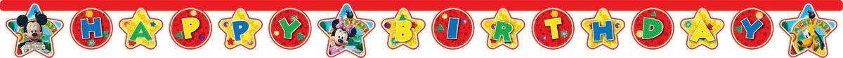 Procos Гирлянда-буквы Happy Birthday Микки Маус81514Гирлянда-буквы Procos Happy Birthday. Микки Маус украсит комнату именинника и подарит заряд настроения не только вашему ребенку, но и всем присутствующим гостям на мероприятии. Гирлянда - это часть веселого настроения и ощущение праздника. Ведь вечеринка не будет полной, если не повесить разноцветные поздравительные буквы, которые так нравятся детям. Гирлянда выполнена из картона и оформлена любимыми мультипликационными героями из одноименного мультфильма. Гирлянда представляет собой надпись Happy Birthday, которая очень легко и просто развешивается над потолком, создавая атмосферу волшебного праздника. Элементы гирлянды скрепляются друг с другом с помощью подвижных металлических соединений. Крайние карточки имеют ниточные петли для удобства крепления гирлянды. Такая гирлянда украсит ваш праздник и подарит имениннику отличное настроение.