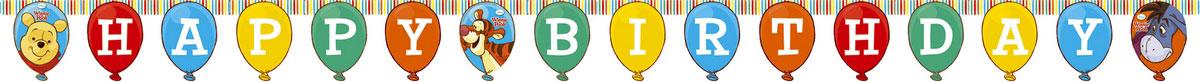 Procos Гирлянда-буквы Happy Birthday Винни-Пух81553Гирлянда-буквы Procos Happy Birthday: Винни-Пух выполнена из картона и украшена яркими изображениями героев одноименного мультфильма. Элементы гирлянды скрепляются друг с другом с помощью подвижных металлических соединений. Крайние карточки имеют ниточные петли для удобства крепления гирлянды. Такая гирлянда украсит ваш праздник и подарит имениннику отличное настроение.
