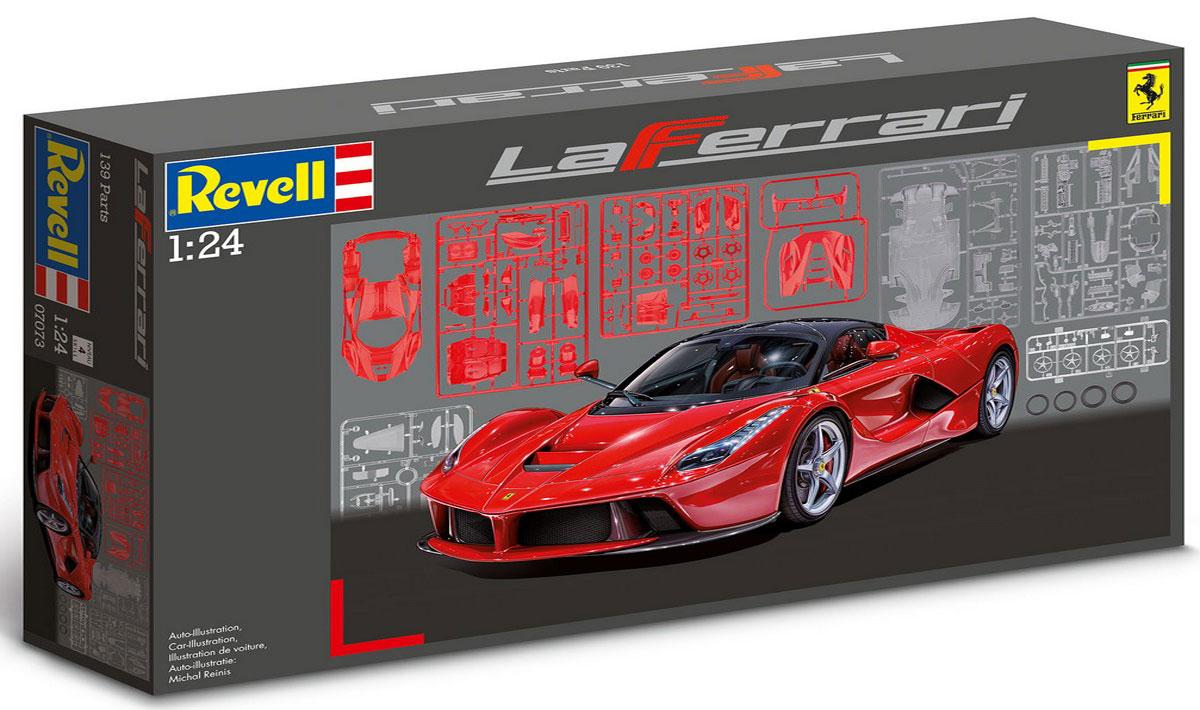 Revell Сборная модель Автомобиль La Ferrari07073RFerrari снова удивила всех своими достижениями, выпустив спорткар LaFerrari. Гонки Формулы 1 повлияли не только на дизайн этой машины но и на ее мощность. Под капотом новинки Ferrari скрыт 6,3-литровый двигатель V12 мощностью 800 лошадиных сил. Удивительный автомобиль разгоняется до скорости в 200 км / ч менее чем за 7 секунд и 300 км / ч всего за 15 секунд. Максимальная скорость спорткара LaFerrari равняется 350 км/ч. Уровень сложности: 4 ВНИМАНИЕ: Клей и краски в комплект не входят.