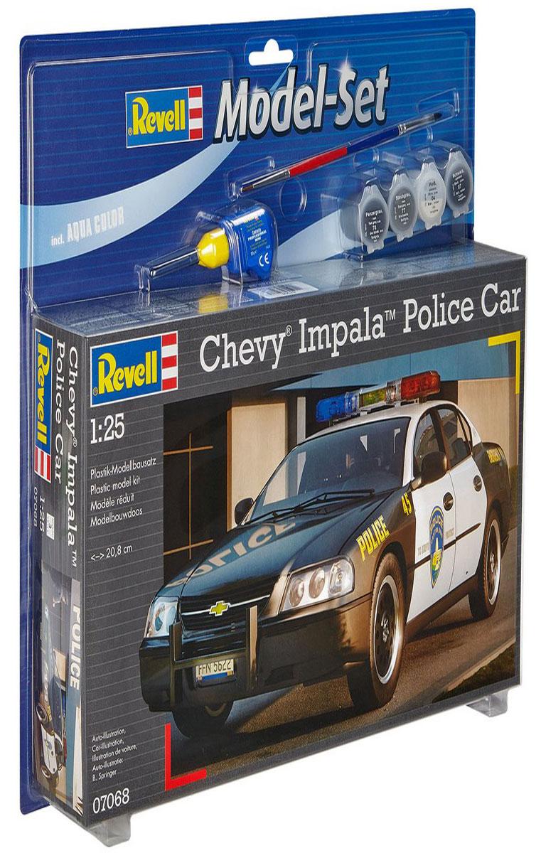 Revell Набор для сборки и раскрашивания модели Полицейская машина Chevy Impala67068Набор для сборки и раскрашивания модели Revell Полицейская машина Chevy Impala поможет вам и вашему ребенку познакомиться с моделизмом и своими руками создать уменьшенную копию одноименного автомобиля. Chevy Impala - это вариант автомобиля полиции США. Модель комплектуется двумя обычными осями для колес, поэтому она может использоваться как простая игрушка-машинка. Набор включает в себя 44 пластиковых элемента для сборки модели, краски 4 цветов (блестящий белый 04, матовый темно-серый 78, матовый пыльно-серый 77 и блестящий черный 07), клей, двустороннюю кисточку и схематичную инструкцию по сборке. Благодаря набору ваш ребенок научится различать цвета, творчески решать поставленные задачи, разовьет интеллектуальные и инструментальные способности, воображение, конструктивное мышление, внимание, терпение и кругозор. Уровень сложности: 3.