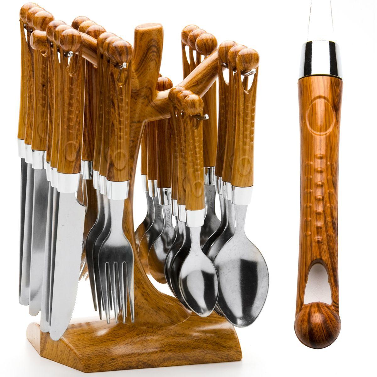 20006 Наб/стол приб. 24пр на подст.MB пласт/р(х16)20006Набор столовых предметов (25 предметов) 25 предметов: - столовый нож (6 шт) - столовая ложка (6 шт) - столовая вилка (6 шт) - чайная ложка (6 шт) - подставка Материал: нержавеющая сталь, пластик Цвета: желтый, голубой, сиреневый Размер упаковки: 25х15х13,5 Вес: 1,2 кг Набор столовых приборов Mayer & Boch выполнен из прочной нержавеющей стали. В набор входит 25 предметов: 6 обеденных ножей, 6 обеденных ложек, 6 обеденных вилок и 6 чайных ложек и подставка. Приборы имеют оригинальные удобные ручки с оригинальным узором. Прекрасное сочетание свежего дизайна и удобство использования предметов набора придется по душе каждому. Предметы набора расположены на подставке из стали с секциями для каждого вида приборов. Подставка оснащена удобной ручкой для переноски. Набор столовых приборов Mayer & Boch подойдет для сервировки стола, как дома, так и на даче и всегда будет важной частью трапезы, а также станет замечательным подарком.