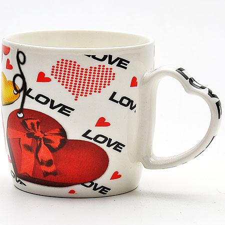 21544 Кружка 300мл Сердце LR в под/упак.(х48), цвет: красный21544Кружка Чайная Материал Фарфор производство Китай объем 300мл индивидуальная упаковка