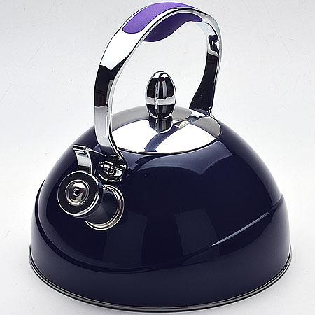 22416 Чайник 2,6л со/свистком съем/крышка МВ (х12), цвет: синий22416Чайник со свистком металлический (2,6 л) Материал: нержавеющая сталь, силикон, капсульное дно, жаропрочный лак Цвета: фиолетовый, зеленый, бордо Размер упаковки: 19х20,5х21 см Объем: 2,6 л Вес: 1,22 кг Чайник выполнен из высококачественной нержавеющей стали 18/10. Капсулированное дно с прослойкой из алюминия обеспечивает наилучшее распределение тепла. Носик чайника оснащен насадкой-свистком, что позволит вам контролировать процесс подогрева или кипячения воды. Фиксированная ручка имеет силиконовую накладку, это дает дополнительное удобство при разлитии напитка, поверхность чайника гладкая, что облегчает уход за ним. Чайник подходит для использования на всех типах плит. Эстетичный и функциональный, с эксклюзивным дизайном, чайник будет оригинально смотреться в любом интерьере. Также изделие можно мыть в посудомоечной машине.