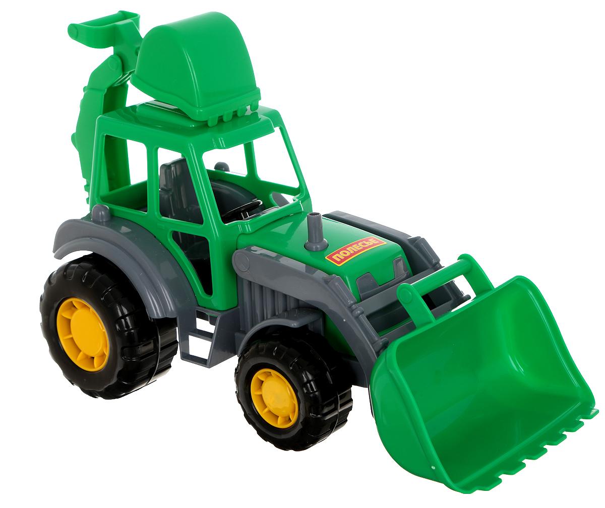 Полесье Трактор-экскаватор Мастер цвет зеленый35318_зеленыйЯркий трактор-экскаватор Мастер обязательно понравится вашему малышу и займет его внимание надолго. Трактор может грести песок или снег, а может ковшом копать ямку (котлован) в песочнице. Экскаватор оснащен двумя подвижными ковшами, снабжен большими устойчивыми колесами со свободным ходом. Ваш маленький строитель часами будет играть с таким экскаватором, придумывая различные истории. Порадуйте его таким замечательным подарком!