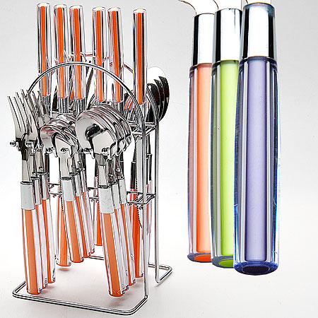 22492-2 Набор столовых приборов 24пр МВ (х12), цвет: оранжевый22492-2Набор столовых приборов 24 пр(6 столовых ложек+6 чайных ложек+6 вилок+6 ножей) Подставка из хромированной стали Сталь+цветная ручка из пластика высокого качества 3 цвета( прозрачный+оранжевый, салатовый, фиолетовый) В прозрачной упаковке с ручкой (28х15х13,5 см) Вес 1200 г