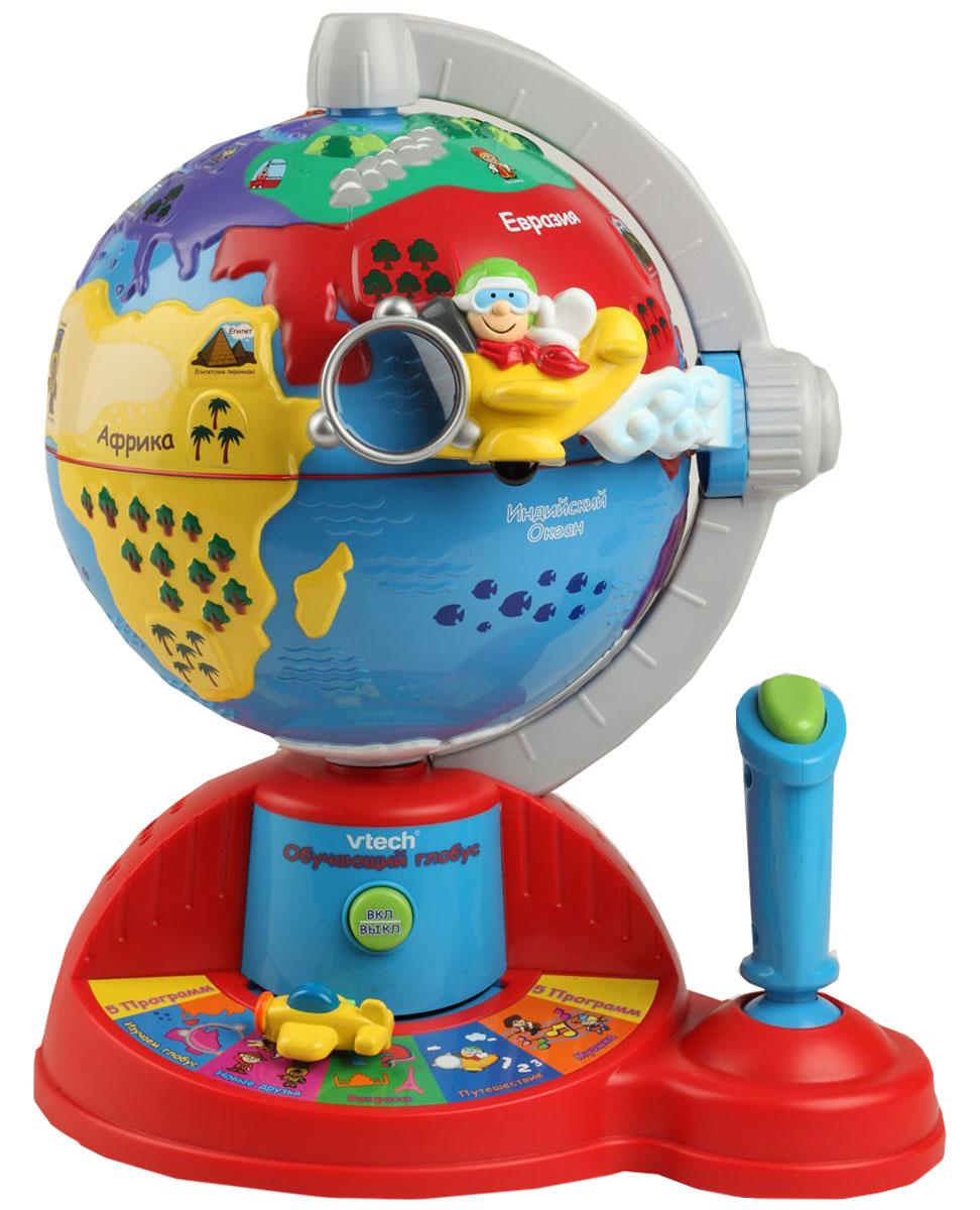 Vtech Обучающий глобус108601, 80-065226Компания Vtech была основана в 1976 году и является одним из мировых лидеров в производстве детских интерактивных игрушек и абсолютным мировым лидером в сегменте детские обучающие компьютеры. Вся продукция ТМ Vtech отличается высоким качеством и привлекательным дизайном, отвечает всем современным требованиям и нормам. Продукция Vtech тестируется в независимых центрах тестирования для обеспечения соответствия мировым стандартам качества. Совершите путешествие на самолете вокруг света! Интерактивный обучающий глобус позволит Вашему ребенку получить новые знания посредством веселой игры. По пути следования самолета дети смогут познакомиться с континентами и океанами, людьми разных стран, достопримечательностями, национальной музыкой и простыми фразами на разных языках, а специальный режим вопросов поможет закрепить полученные знания. При помощи джойстика самолет двигается в любом из четырех направлений, а мелодии и ритмы народов мира сделают путешествие...