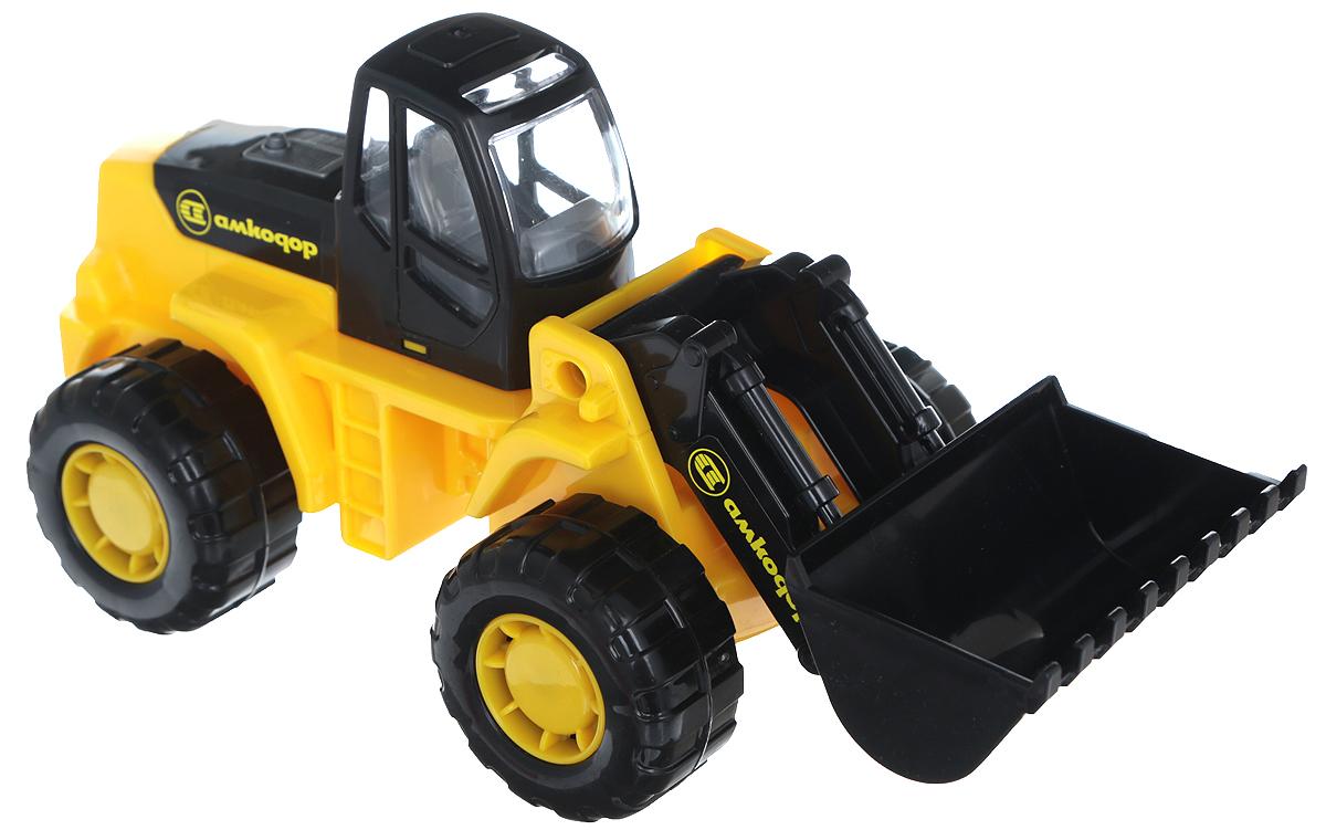 Полесье Трактор-погрузчик Умелец цвет желтый35400_желтыйТрактор-погрузчик Полесье Умелец, изготовленный из прочного безопасного материала, отлично подойдет ребенку для различных игр. Трактор оснащен большим ковшом, с помощью которого можно перемещать материалы (камушки, песок, веточки), убирать строительный мусор или расчищать площадку. Большие колеса со свободным ходом обеспечивают игрушке устойчивость и хорошую проходимость. Ваш юный строитель сможет прекрасно провести время дома или на улице, воспроизводя свою стройку.