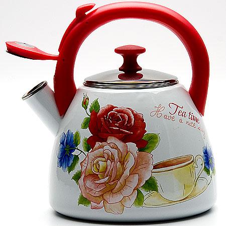 """Чайник эмалированный Mayer & Boch """"Розы"""", со свистком, 2,8 л. 23087"""