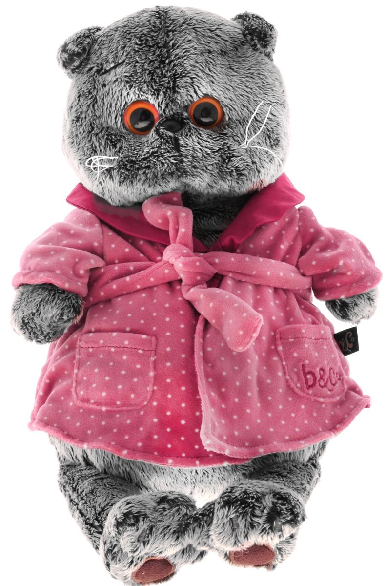 Мягкая игрушка Басик в халате 30 смKS30-026Мягкая игрушка Басик в халате подарит малышу немало прекрасных мгновений. Дети очень трепетно относятся к домашним животным, особенно они любят котов и собак и часто просят своих родителей приобрести им такого друга. Однако домашние питомцы не всегда хорошо влияют на детей - они могут поцарапать и даже вызвать аллергическую реакцию, поэтому приходят на помощь мягкие игрушки, очень похожие на настоящих питомцев. С этим шотландским вислоухим котиком можно играть, отдыхать и засыпать в обнимку, рассказывая свои секреты. У него густая плюшевая шерстка, которую так приятно гладить. У Басика круглые медовые глазки, маленькие ушки и черный носик. На Басике уютный домашний халат с воротничком и поясом. Халатик розового цвета в мелкий белый горошек. Мягкие игрушки очень полезны для малышей, потому что весьма позитивно влияют на детскую нервную систему, прогоняя всевозможные страхи. Играя, малыш развивает фантазию и воображение, развивает тактильную...